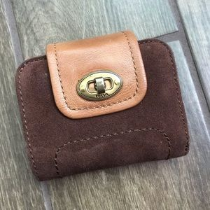 Fossil Brown Suede Leather Bifold Wallet